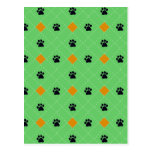 Orange Argyle Paw Prints Postcard