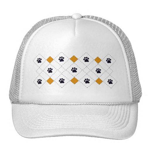Orange Argyle Paw Prints Trucker Hat
