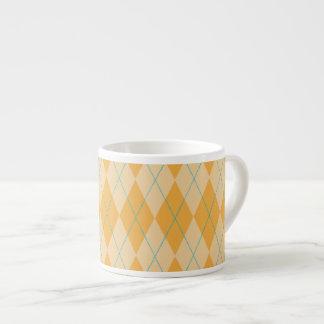Orange Argyle 6 Oz Ceramic Espresso Cup