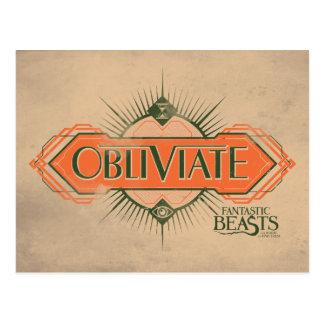 Orange Art Deco Obliviate Spell Graphic Postcard