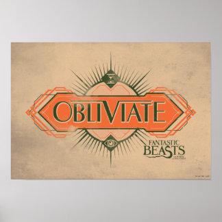 Orange Art Deco Obliviate Spell Graphic Poster