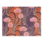 Orange Art Deco Pattern Post Card