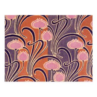 Orange Art Deco Pattern Postcard