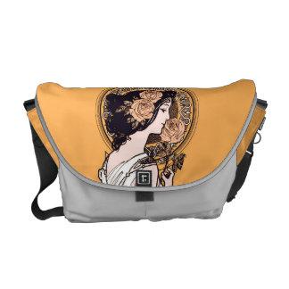 Orange art nouveau girl messenger bags