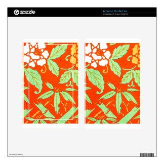 Orange Asian Botanical Skin For Kindle Fire