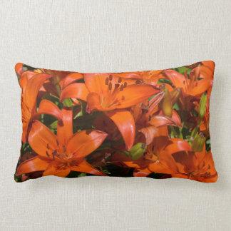 Orange Asiatic Lily 'Brunello' (Lilium) - Flowers Lumbar Pillow