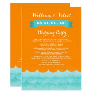 Orange At Sea Nautical Wedding Programs Card
