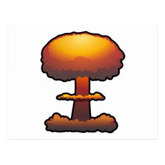 Orange Atomic/Nuclear Explosion Mushroom Cloud Postcard