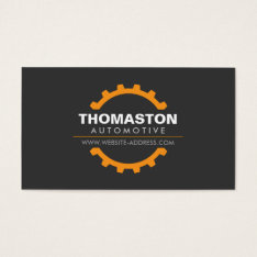 Orange Automotive Gear Auto Repair, Mechanic Business Card at Zazzle