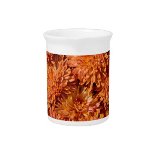 Orange autumn chrysanthemum flowers beverage pitchers