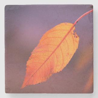 Orange autumn leaf stone coaster