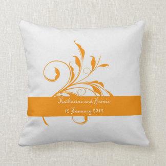 Orange Autumn Leaf  Wedding Pillow