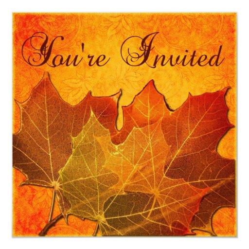 "Orange Autumn Leaves Thanksgiving 5.25"" Square Invitation Card"