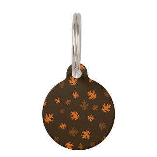 Orange Autumn Oak Leaves Against Dark Brown Pet Name Tag