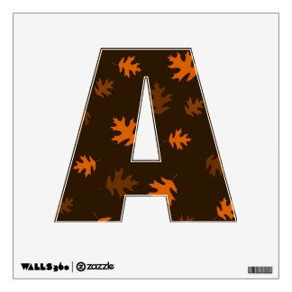 Orange Autumn Oak Leaves Against Dark Brown Wall Decal