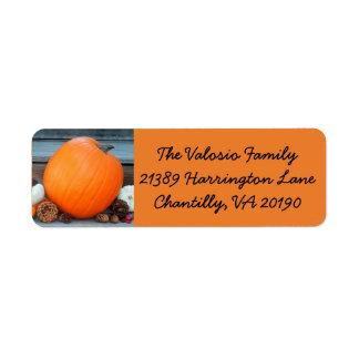 Orange Autumn Pumpkin Return Address Label