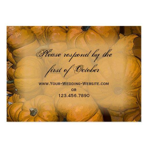 Orange Autumn Pumpkins Wedding RSVP Response Card Business Cards