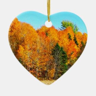 Orange Autumn Trees Newfoundland Canada Photo Art Ceramic Ornament