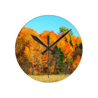 Orange Autumn Trees Newfoundland Canada Photo Art Wallclocks