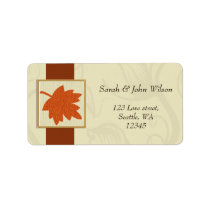 orange autumn wedding ,return address label