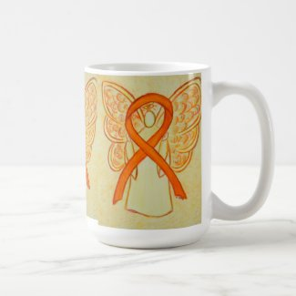 Orange Awareness Ribbon Angel Art Mug
