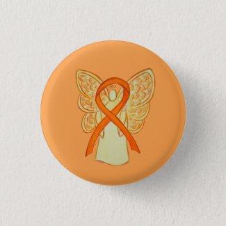 Orange Awareness Ribbon Angel Custom Art Pins