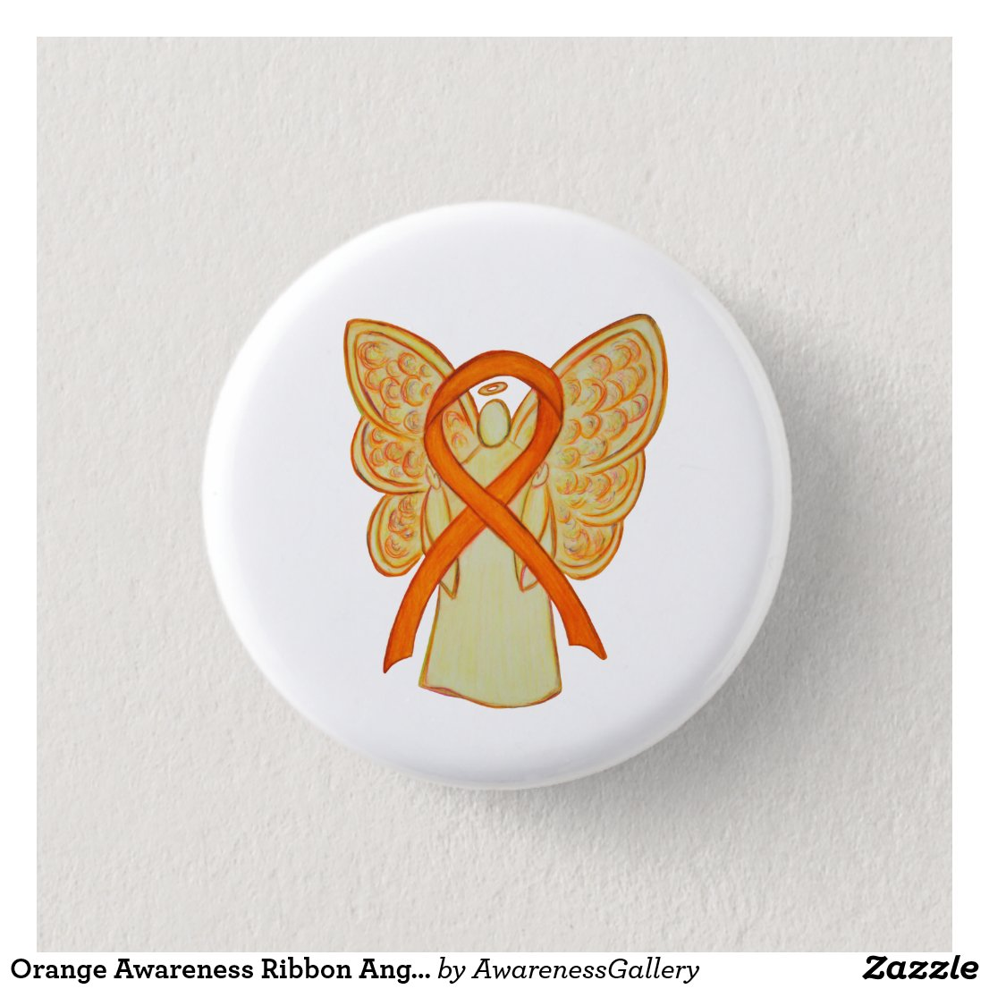 Orange Awareness Ribbon Angel Custom Art Pins