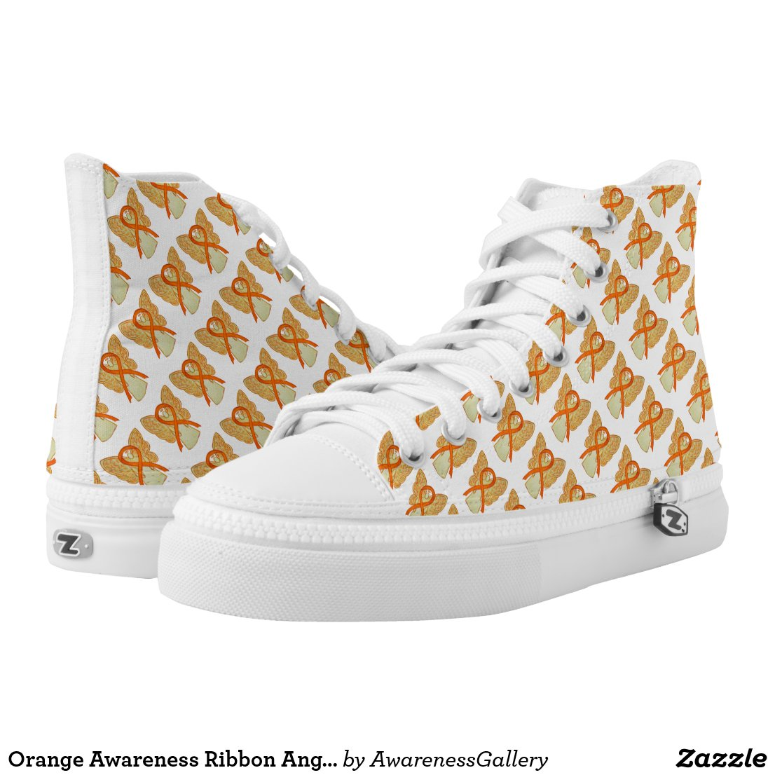Orange Awareness Ribbon Angel Custom High Tops