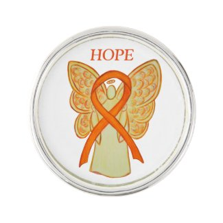 Orange Awareness Ribbon Angel Custom Lapel Pin Art