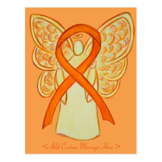 Orange Awareness Ribbon Angel Custom Postcard