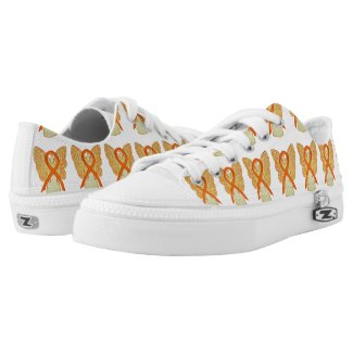 Orange Awareness Ribbon Angel Custom Sneakers