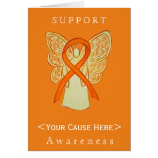 Orange Awareness Ribbon Angel Customized Card