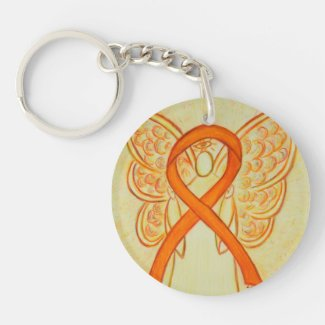 Orange Awareness Ribbon Angel Customized Key chain
