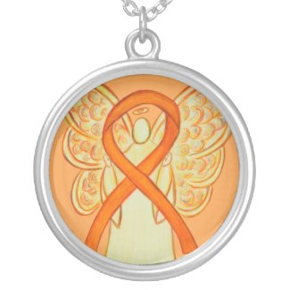 Orange Awareness Ribbon Angel Jewelry Necklace