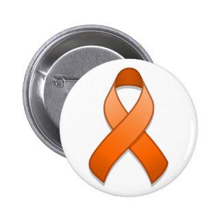 Orange Awareness Ribbon Button