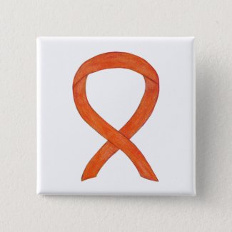 Orange Awareness Ribbon Custom Art Pins