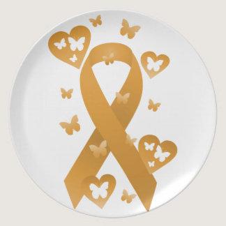 Orange Awareness Ribbon Dinner Plate