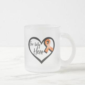 Orange Awareness Ribbon For My Hero 10 Oz Frosted Glass Coffee Mug