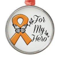 Orange Awareness Ribbon For My Hero Metal Ornament