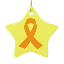 Orange Awareness Ribbon - Leukemia, MS Ceramic Ornament