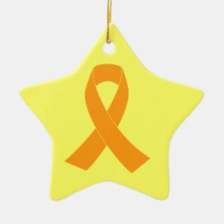Orange Awareness Ribbon - Leukemia, MS Double-Sided Star Ceramic Christmas Ornament
