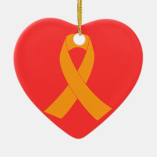 Orange Awareness Ribbon - Leukemia, MS Double-Sided Heart Ceramic Christmas Ornament