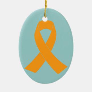 Orange Awareness Ribbon - Leukemia, MS Double-Sided Oval Ceramic Christmas Ornament