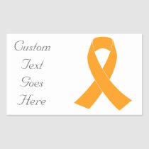 Orange Awareness Ribbon - Leukemia, MS Rectangular Sticker