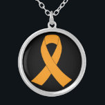 """Orange Awareness Ribbon - Leukemia, MS Silver Plated Necklace<br><div class=""""desc"""">Orange Awareness Ribbon - Leukemia,  MS. You can personalize the design further if you&#39;d prefer,  such as by adding your name or other text,  or adjusting the image - just click &#39;Customize&#39; to see all the options.</div>"""