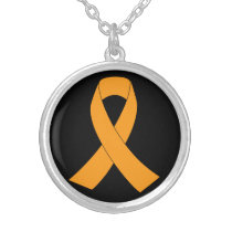 Orange Awareness Ribbon - Leukemia, MS Silver Plated Necklace