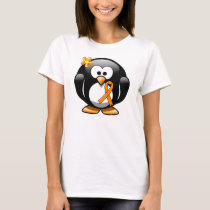 Orange Awareness Ribbon Penguin T-Shirt