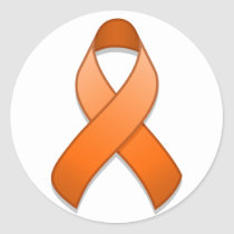 Orange Awareness Ribbon Round Sticker