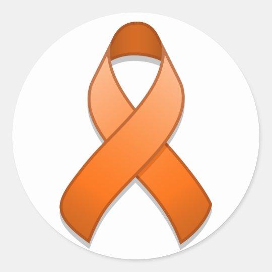 Orange Awareness Ribbon Round Sticker