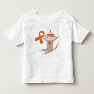 Orange Awareness Ribbon Sock Monkey T Shirt